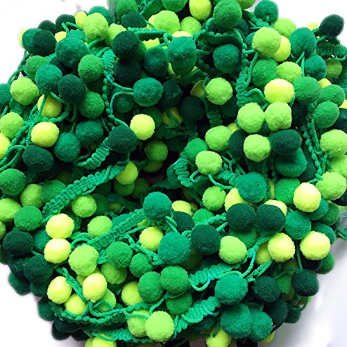 Yalulu 5 Yards Mini Rainbow Pom Pom Tassel Pompom Trim Ball Fringe Ribbon DIY Sewing Accessory Lace Fabric Craft Sewing Supplies (Green)
