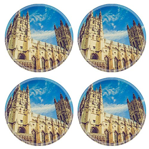 MSD Round Coasters Non-Slip Natural Rubber Desk Coasters design 26986076 Vintage looking The Canterbury Cathedral in Kent England UK Canterbury Round Table