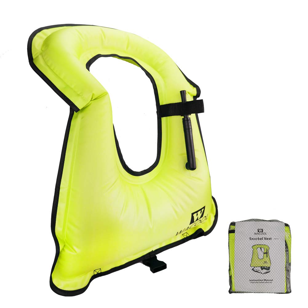 WACOOL Inflatable Snorkel Vest Safety Jacket Free Diving Portable Life Jacket for Swimming (Adult Neon Green)