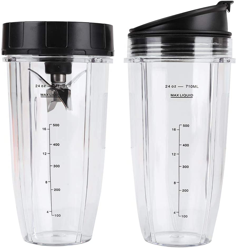 2 Pack 24 oz Blender Cups with Sip & Seal Lids and 7 Fins Bottom Extractor Blades, 710ML Measuring Scale Cup Mug Replacement Parts Compatible with Nutri Ninja Auto IQ BL480 BL482 BL640 BL680 NN102