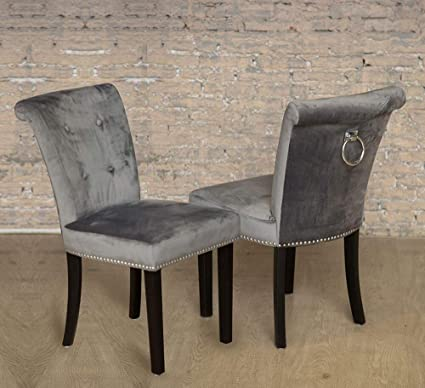 6af37e9544f6 Sue Ryder Pair of Grey Velvet Button Back Dining Chair Chrome Knocker and  Studs Black Legs: Amazon.co.uk: Kitchen & Home