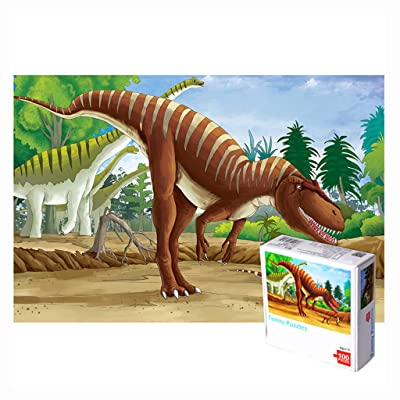 Sallymonday Dinosaur 100 Piece Jigsaw Puzzle for Kids, Educational Cartoon Puzzle Game Toys Great Gifts: Toys & Games