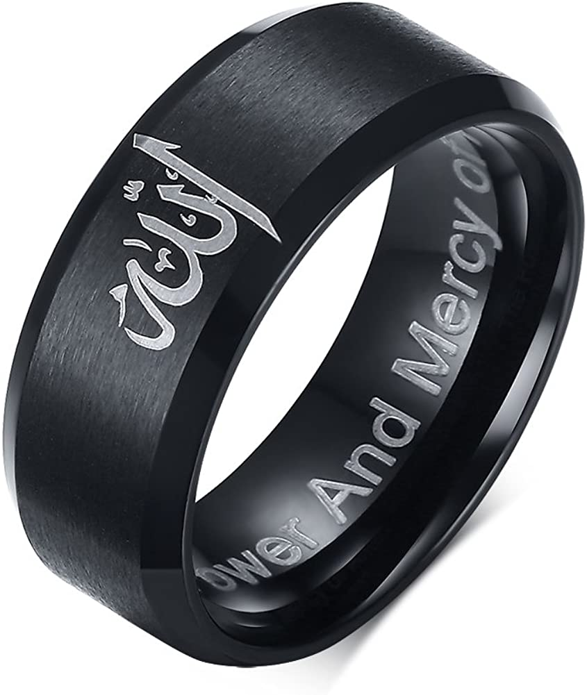VNOX 8mm Black Stainless Steel Allah Ring for Arabic Islamic Muslim Religious Jewelry Size 6-13