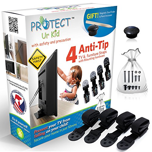 [Full Kit] Anti Tip Furniture Anchor TV Straps w/Ultra-Strong Wall Mounting Hardware & Safety Stud Finder Locks-In Heavy Objects for Instant Earthquake, Child & Baby Proofing (4 Set) by Protect Ur Kid