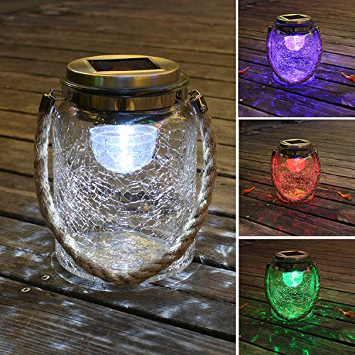 Crackle Lantern (Jar Solar Lights Outdoor Decorative, Clear Crackle Glass Solar Jar for Hanging or Table, 4 PCS LEDs Rotating Function, White or RGB Color Changing Lighting (6.1'' Tall))