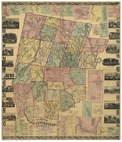 Litchfield County Connecticut 1859 - Wall Map with Homeowner Names Old Map Reprint