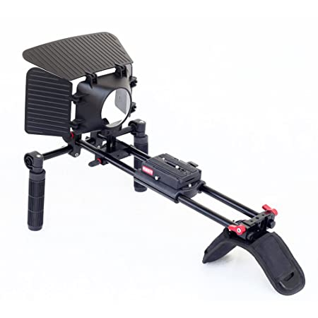 FILMCITY DSLR Shoulder Camera Rail Rod Rig with C Comfortable Pad Quick Release Matte box Front Handles for Nikon Sony Canon Panasonic Smooth Stable Video Movie Shooting (FC-79) <span at amazon