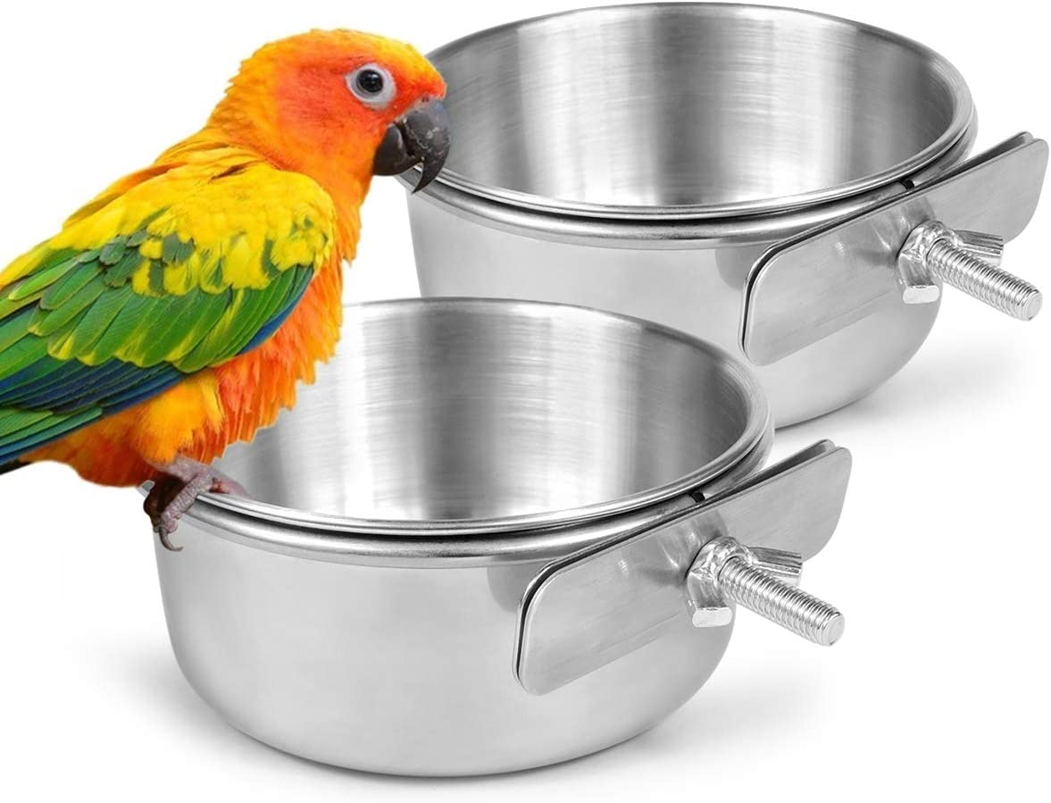 MIMORE Birds Food Water Cup Parrot Food Bowl with Clamp Holder Stainless Steel Feeding Cage Dish Parrot Feeders Hanging Water Coop Bowls with Bracket Holder for Bird-Lover and Small Animal