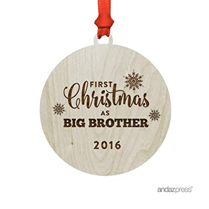 andaz press laser engraved wood christmas ornament with gift bag first christmas as big brother