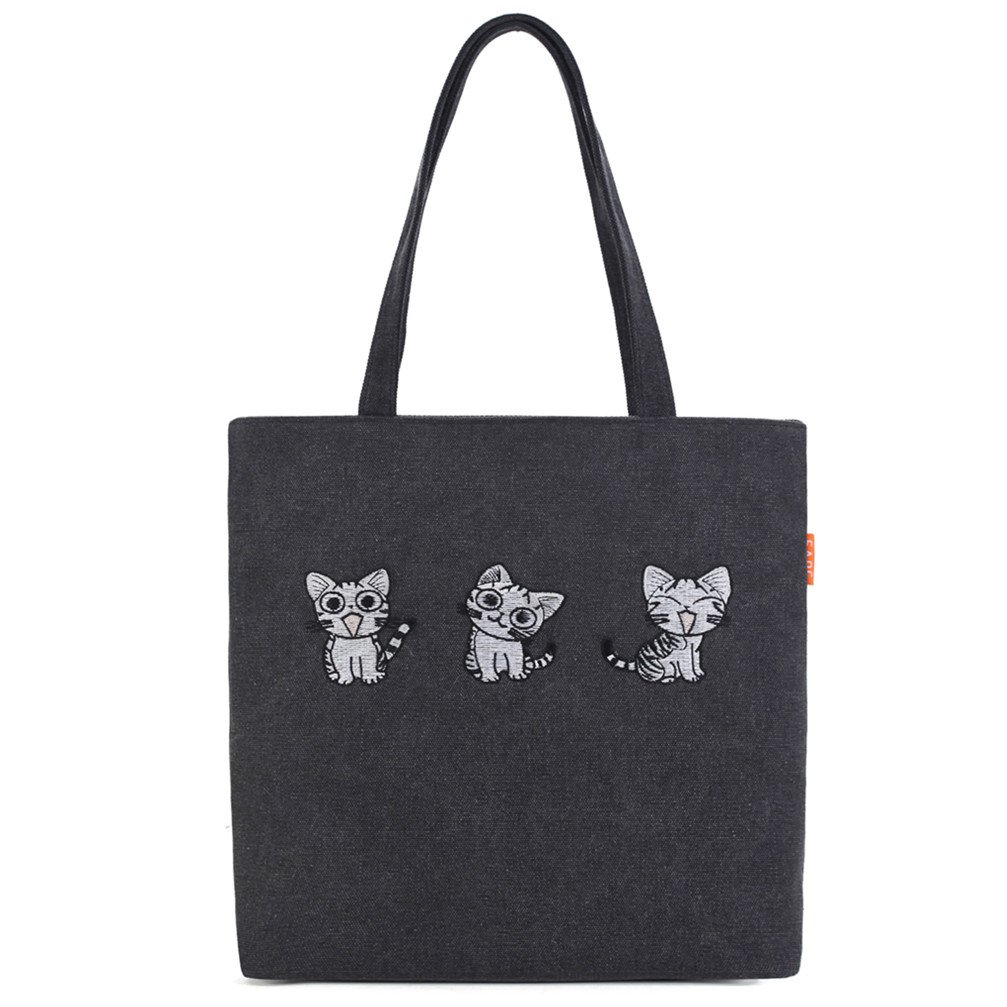 FUTISKY Women's Canvas Tote Bag Shoulder Hand Bag Embroidery Cartoon Cat Shopping Bag