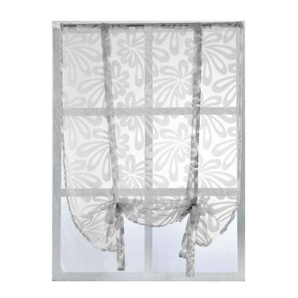 Affichage 08:Rideaux de fenêtre de mode floral, panneau de rideau intercalaire drapé, décoration pour la maison., café, 100cm x 80cm display08