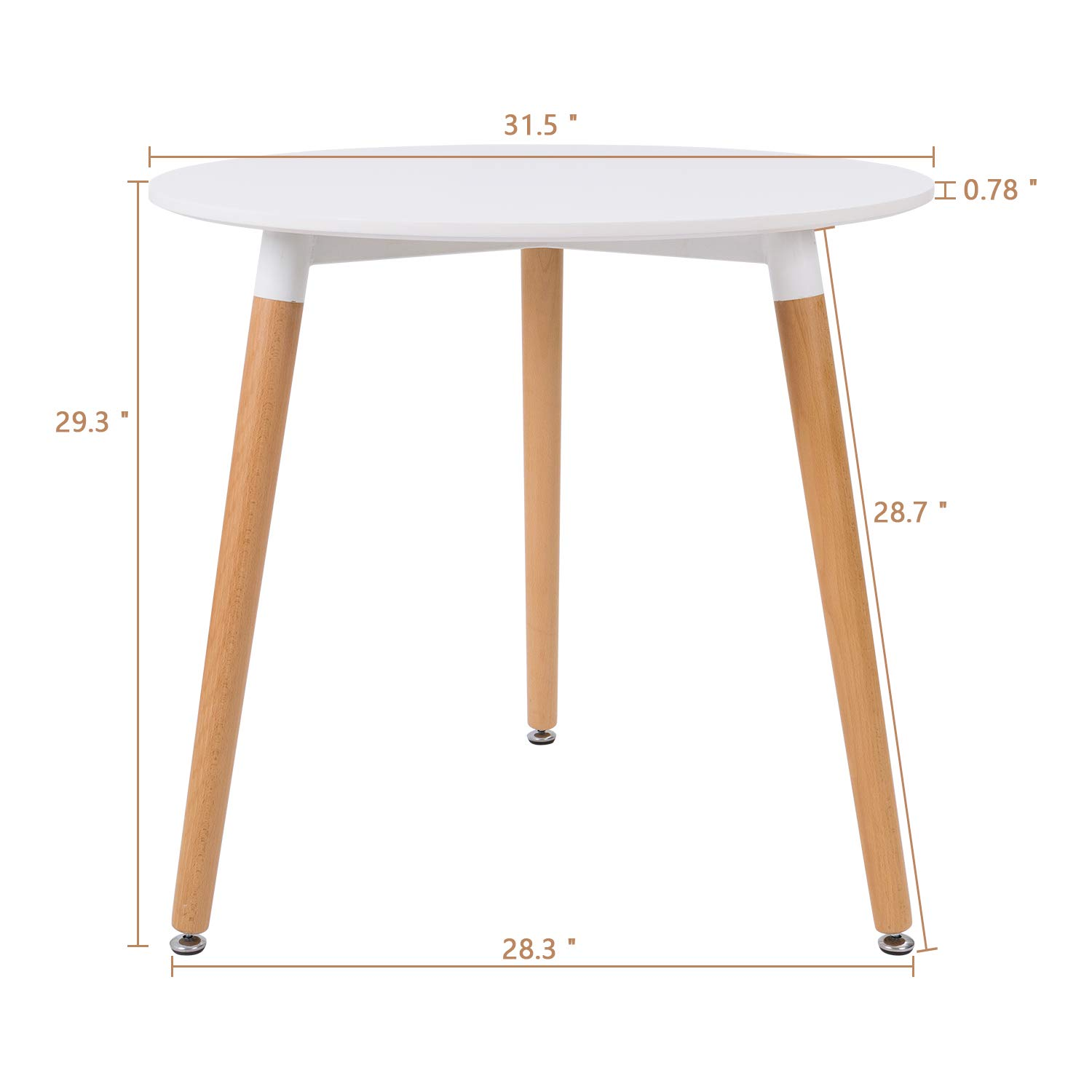 Furmax Kitchen Dining Table Modern Style Round Leisure Coffee Table,Office Coference Desk with Wood Legs for Kitchen Living Room (White) by Furmax (Image #5)