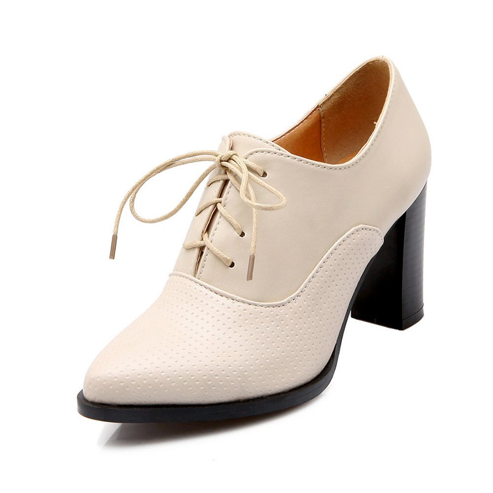 Lucksender Womens Fashion British Style Lace up High Chunky Heel Oxfords Shoe 6.5B(M) US Beige