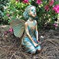 "Homestyles Rebecca Fairy #96012 Large 13""h Sitting Garden Statue Bronze Patina"