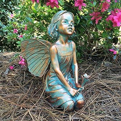 "Homestyles Rebecca Fairy #96012 Large 13""h Sitting Garden Statue Bronze Patina"