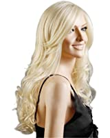 Discoball High Quality Women's Light Blonde Fashion Natural Full Curl Wig Cosplay Party