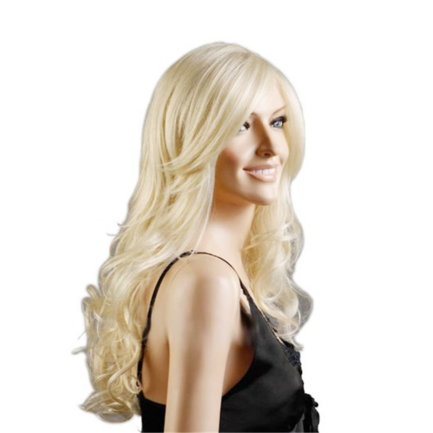 Acecharming Long Blonde Curly Wig,Womens Cosplay Wig Fashion Natural Full Party Wig with Free Wig Cap
