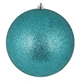 Vickerman N592042DG Glitter ball ornaments. Shatterproof & UV Resistant, Pre-drilled cap Secured & 6'' of Green Floral Wire. 4 per bag, 8'', Teal