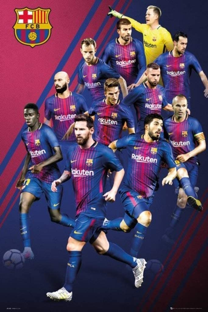 Amazon Com Poster Stop Online Fc Barcelona Fcb Sports Soccer Poster Print The Players 2017 2018 Size 24 X 36 Home Kitchen