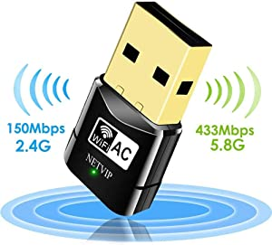 USB WiFi Adapter 600Mbps Wireless Network Card Dual Band 2.4G/5.8G WLAN Card with WPS Button for Desktop/Laptop/PC,Perfect for Windows XP/Vista/7/8/10,Mac OS X