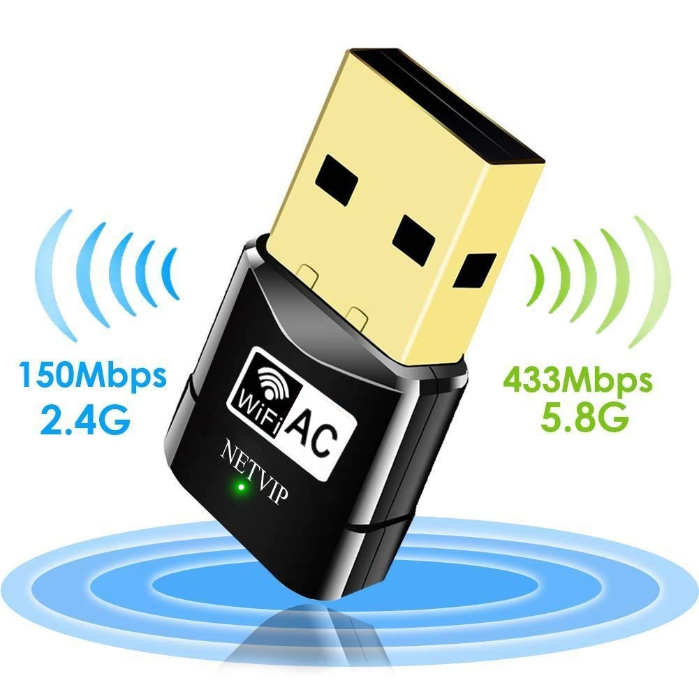 USB WiFi Adapter 600Mbps Wireless Network Card Dual Band 2.4G/5.8G WLAN Card with WPS Button for Desktop/Laptop/PC,Perfect for Windows XP/Vista/7/8/10,Mac OS X by NETVIP