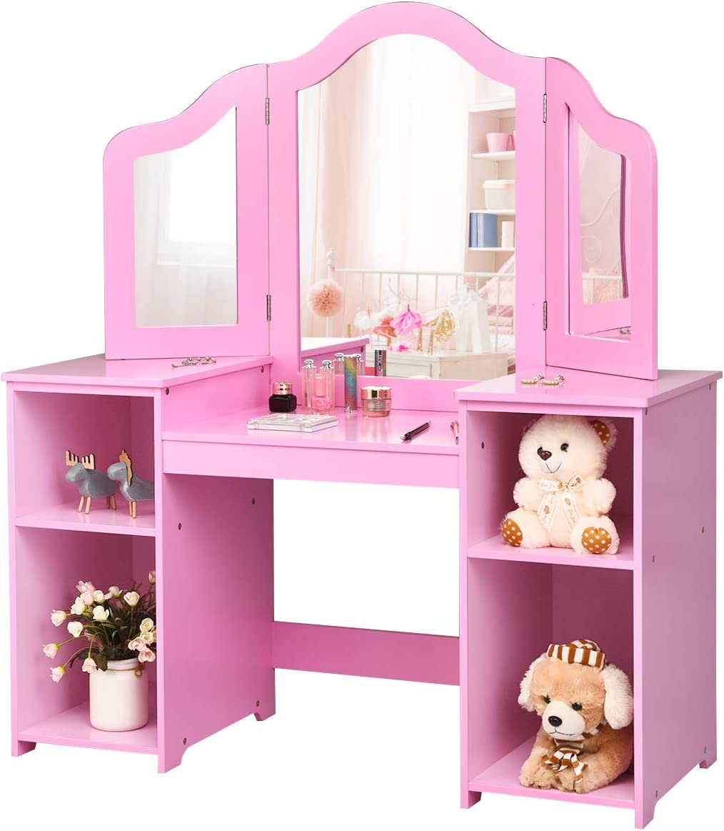 Amazon Com Costzon Kids Vanity Table 2 In 1 Detachable Design With Dressing Table And Writing Desk Makeup Dressing Table With Four Storage Shelves Two Folding Mirrors Children Girls Pink Kitchen Dining