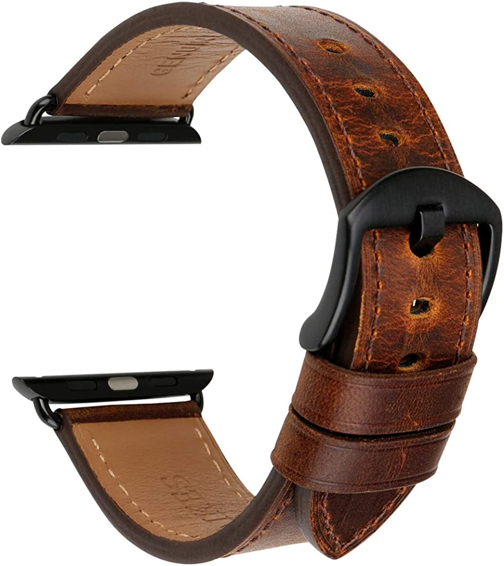 MAIKES Compatible with Apple Watch Band Strap 44mm 42mm 40mm 38mm, Genuine Leather Band Replacement for iWatch SE Apple Watch Series 6 Series 5, Series 4/3/2/1 Sport and Edition