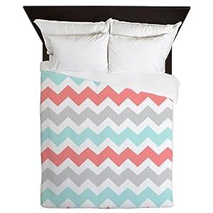 CafePress Coral Aqua Grey Chevron Stripes Queen Duvet Cover, Printed Comforter Cover, Unique Bedding, Microfiber