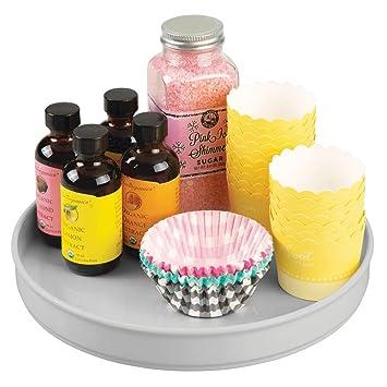 mDesign Especiero giratorio para cocina – Elegante estante para especias, condimentos, ingredientes de hornear o conservas – Bandeja giratoria redonda ...