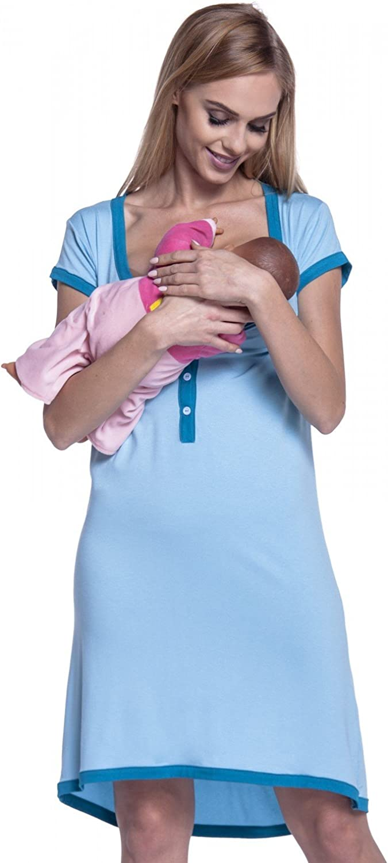 981p HAPPY MAMA Para Mujer camis/ón premam/á Embarazo Lactancia Escote de Pico