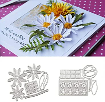 Maserfaliw Cutting Dies Stencils 3D Daisy Rhododendron Paper Art Flower Decor DIY Embossing Tool 1#