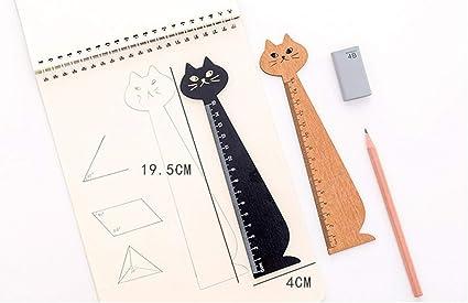 Vommpe Regla novedad dibujos animados forma de gato herramienta de medición material escolar papelería regalo para niños 2 piezas: Amazon.es: Oficina y papelería