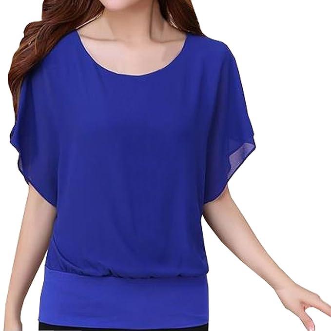 Minetom Camiseta Blusa Casual Elegante Oficina Cuello Redondo Batwing Manga Corta para Mujer Azul ES 34