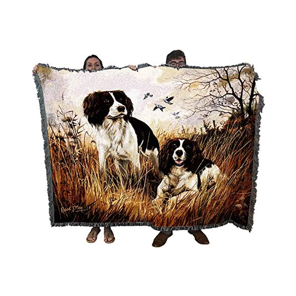 Pure Country Weavers - English Springer Spaniel Woven Tapestry Throw Blanket with Fringe Cotton USA Size 72 x 54 1
