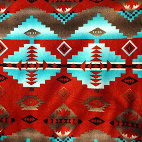 "Navajo Indian Native American Red and Turquoise Indian Print Anti Pill Fleece Fabric, 60"" Inches Wide – Sold By The Yard (FB)"