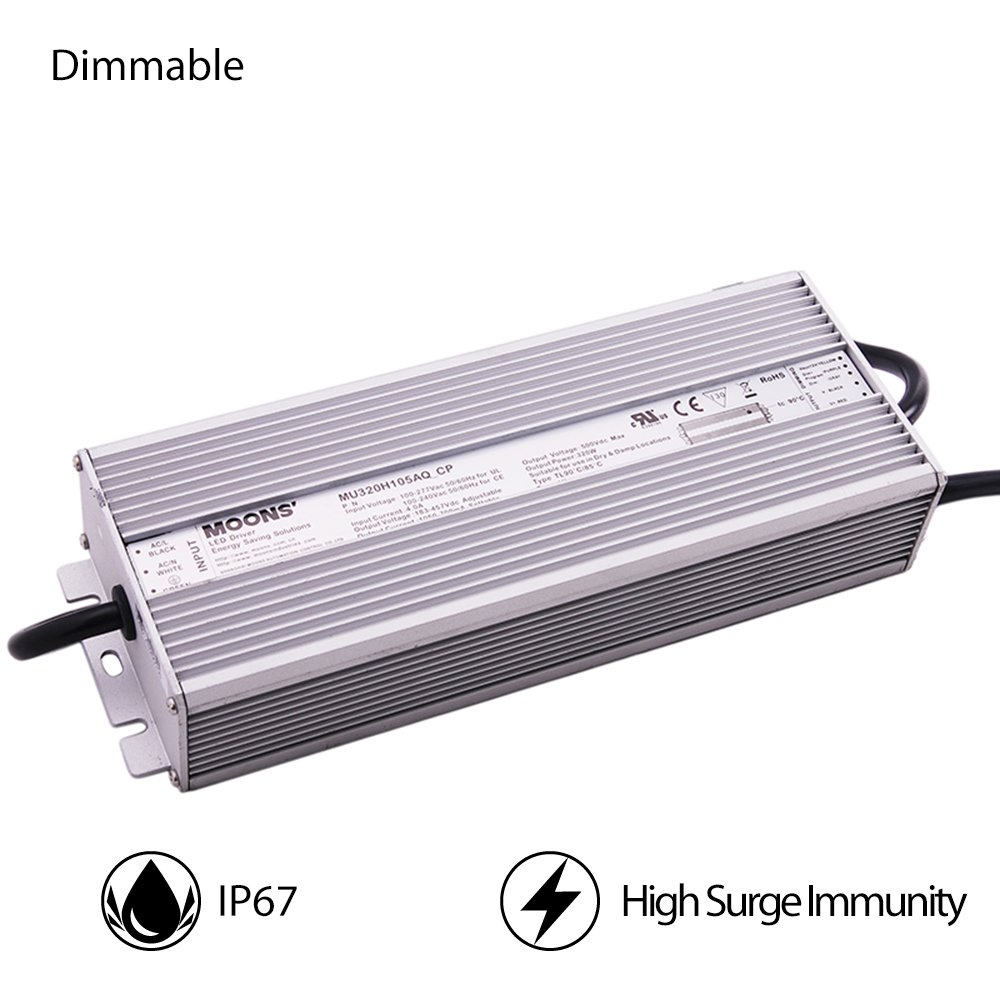 Moons' IP67 Waterproof LED Driver Dimmable LED Power Supply 320W Outdoor Power Supply 90~305VAC 183-457VDC 70-1050mA Output Constant Current LED Power Driver Waterproof LED Power Supply