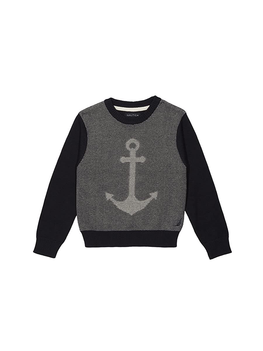 5b613139195 Nautica Boys' Crewneck Jacquard Anchor Sweater