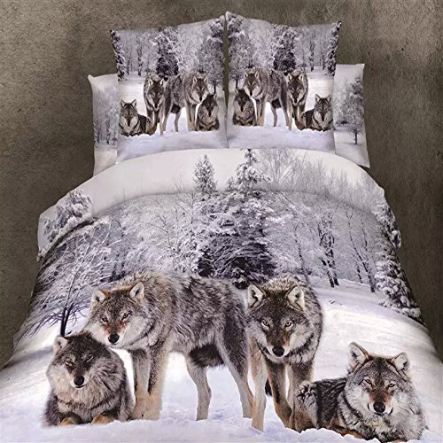 New Design Snow Wolf in the Woods 3D Printed 4-Piece Cotton Duvet Cover Sets for Boys Children Men King