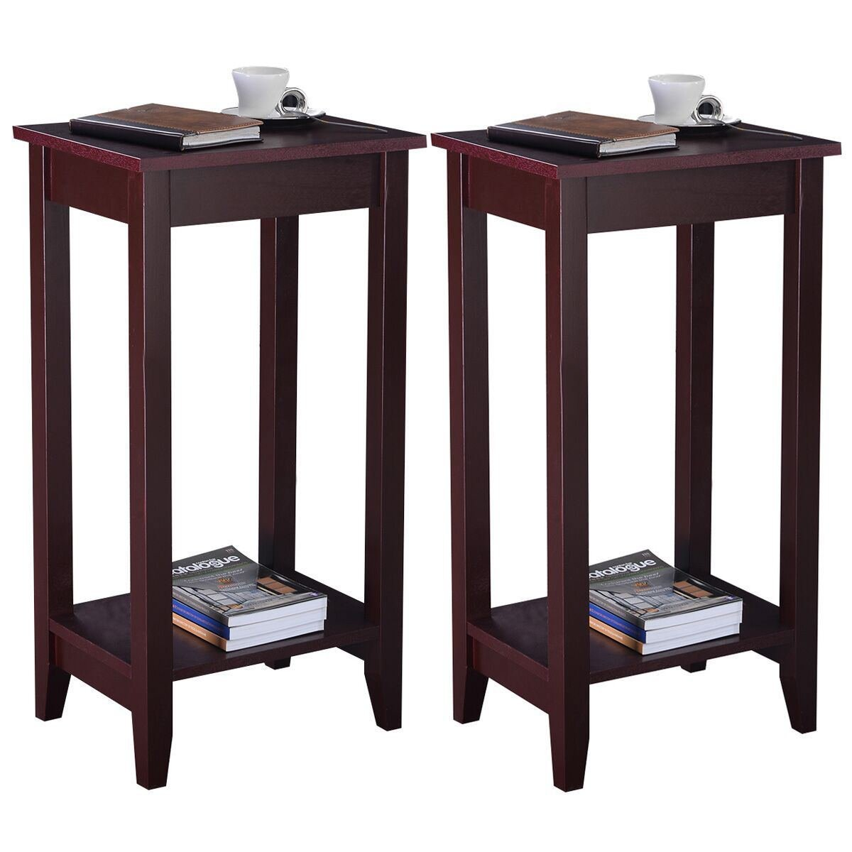 MasterPanel - Set of 2 Tall End Table Coffee Stand Night Side Accent Furniture Brown #TP3240 by MasterPanel