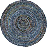 Unique Loom Braided Chindi Collection Casual Modern Blue Round Rug (8′ x 8′) For Sale