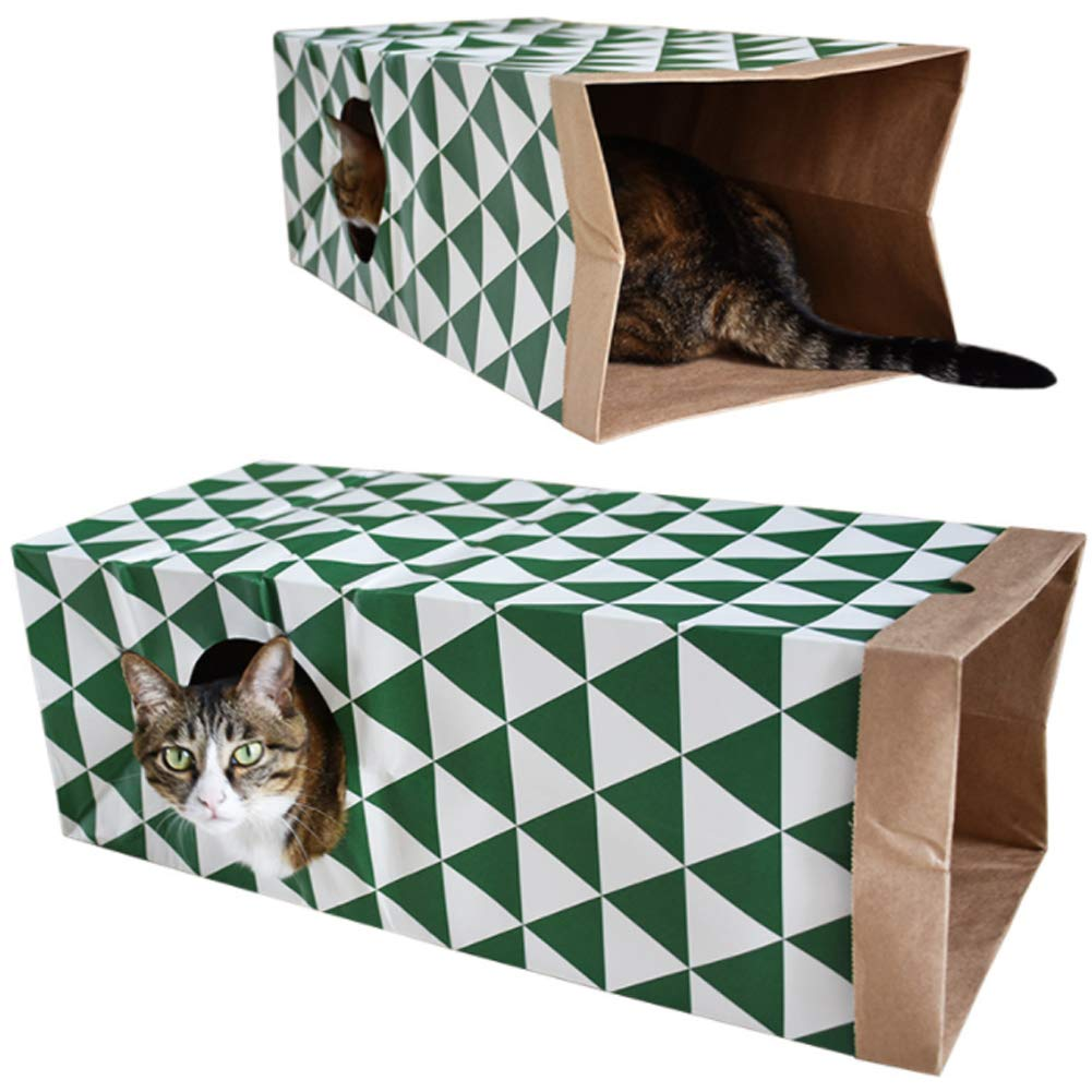 Cat Tunnel Cat Paper Bag Tunnel Toy Collapsible Tunnel,Cat Toys Play Tunnel for Puzzle Exercising Hiding Training and Running for Rabbits, Kittens, Ferrets, Pet Paper House by PJDDP