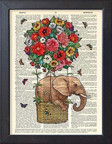 - Hot Air Balloon Poster Elephant Art Print Vintage Book Wall Decor