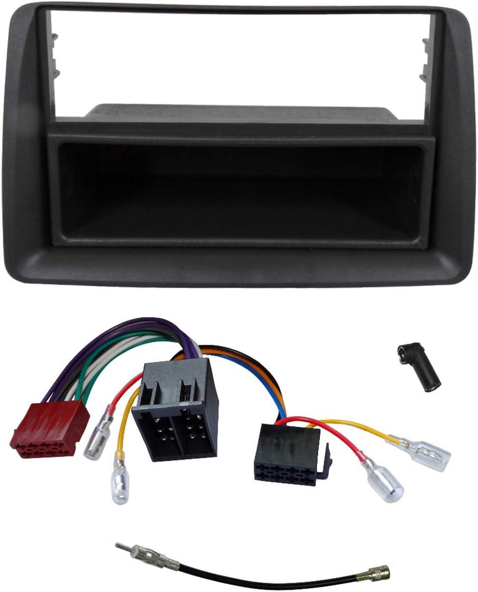 Cable Enchufe y adaptadores de Antena AERZETIX Gris Oscuro C2761A Kit de Montaje de Radio de Coche est/ándar 1DIN Marco