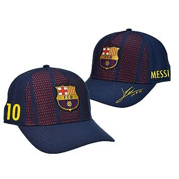 Gorra Oficial FC BARCELONA - Messi 10 + Firma - Tallaje Junior Ajustable: Amazon.es: Deportes y aire libre