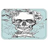 VROSELV Custom Door MatGrunge Home Decor Skull and FlowerDay of the Dead Mexican Traditional Celebration Symbolic Art Turquoise and White