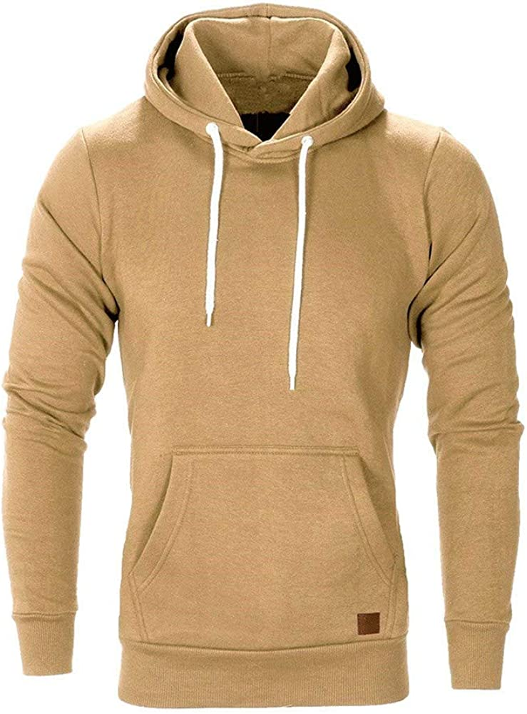 Mens Casual Sweatshirt Hoodies Sloid Long Sleeve Winter Pullover Pocket Workout Lightweight Undershirts Tops WEI MOLO