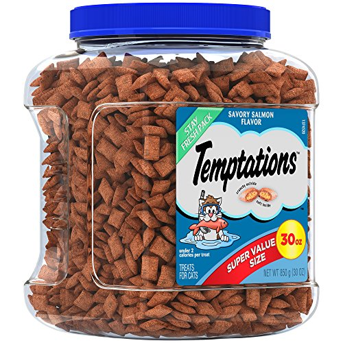 TEMPTATIONS Classic Cat Treats Savory Salmon Flavor, 30 oz. Tub -