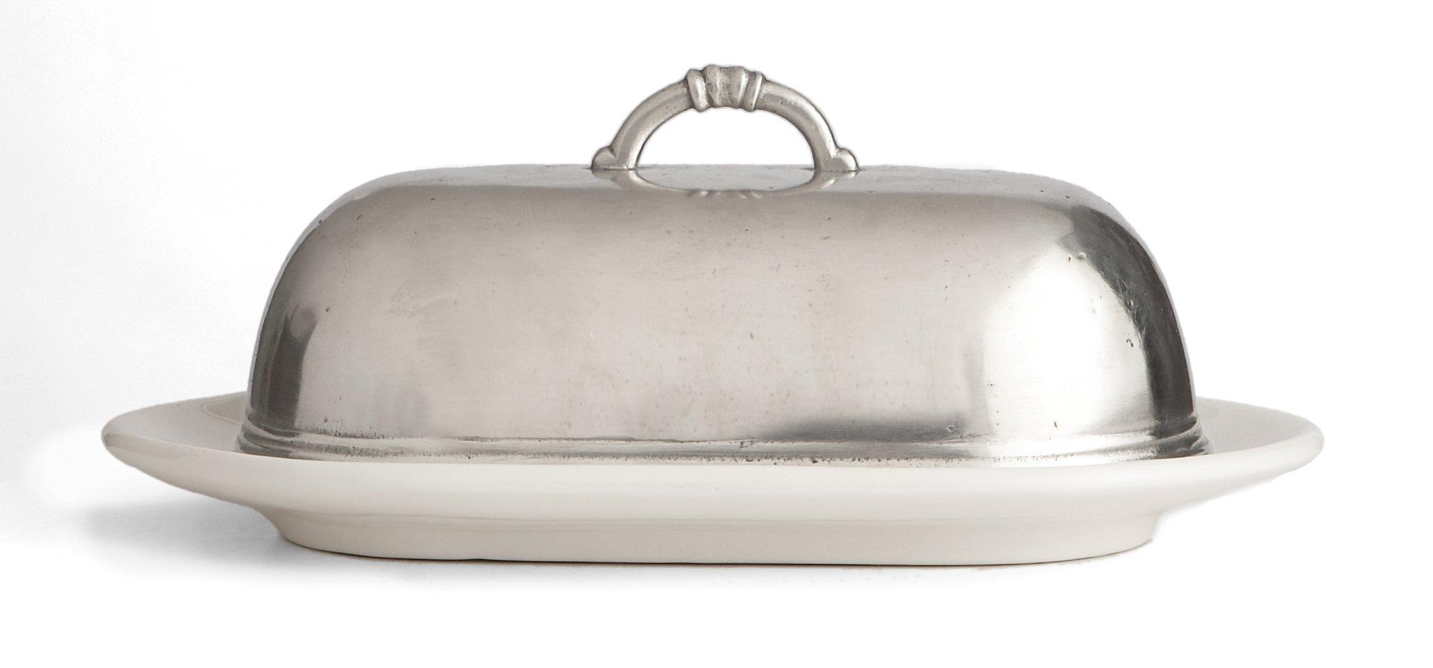 Arte Italica Tuscan Butter Dish, White