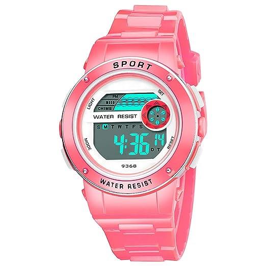 Antrygobin - Reloj de Pulsera Digital con cronómetro y retroiluminación Rosa: Amazon.es: Relojes