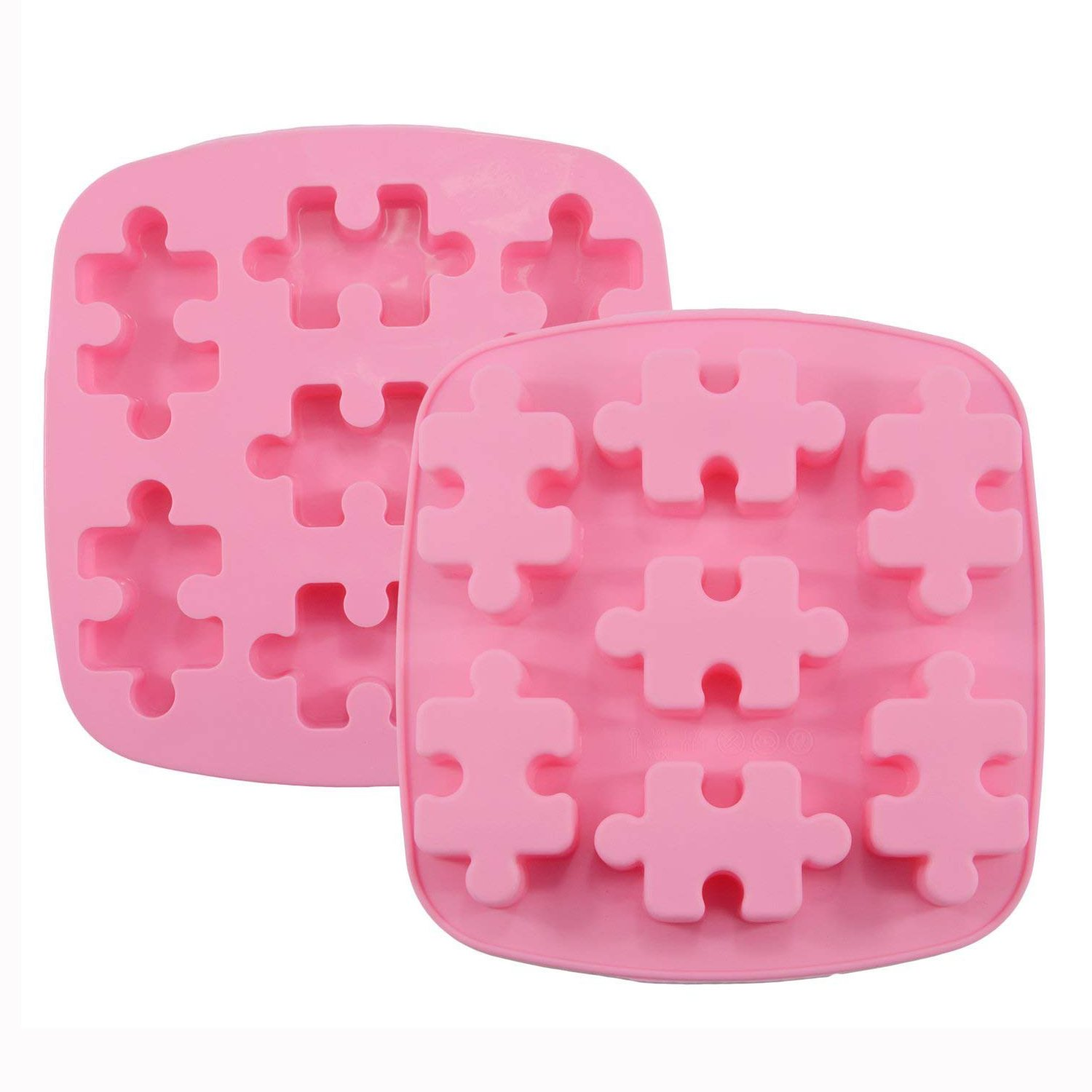 HINMAY Puzzle Piece Mold Puzzle Crayons Maker - Set of 2 - Non-stick Heat Resistance Silicone Puzzle Mold Perfect for Wax Samples, Chocolate, Jello shots, Pudding, Bath Bomb, Soap and Ice Cube etc.